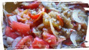 salade poivron aubergine tomate oignon doux ail